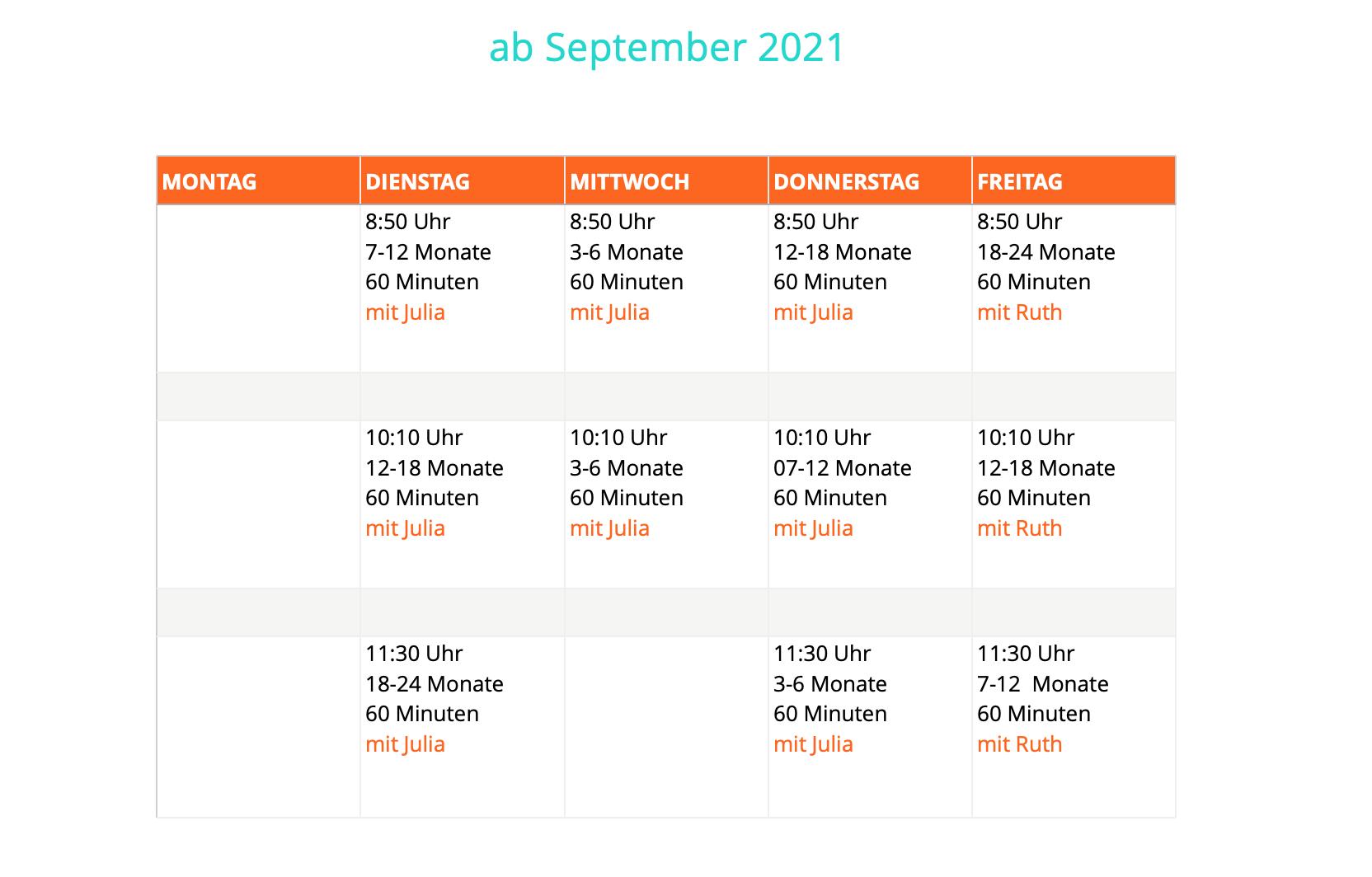 Krümelkiste Kursplanung ab September 2021